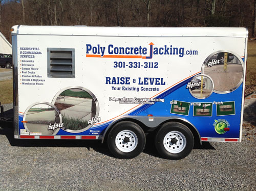 Raise and level concrete driveways, patios, garage floors, pool decks with Slab Jacking or Poly Jacking in WV, MD, PA